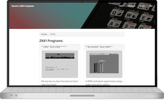 Screen shot of the ZX81 Programs web page