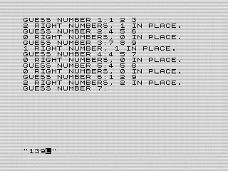 ZX Master Mind game play, Steven Reid 1985/1998